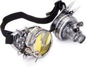 Steampunk bril goggles zilver - led lampje, vergrootglas en geel glas