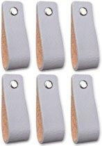 Leren handgrepen - Licht Grijs - 6 stuks - 16,5 x 2,5 cm | incl. 3 kleuren schroeven per leren handgreep