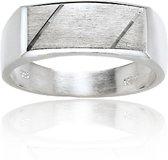 Classics&More - Zilveren Ring - Maat 64 - Rechthoek Mat Glanzend
