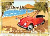 VW Beetle Surf Coast Metalen Postcard 10 x 14 cm.