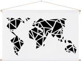 Wereldkaart zwart wit - kunst - artistiek - schoolplaat 60x40 cm platte latten - Textielposter