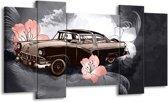 Schilderij | Canvas Schilderij Oldtimer, Auto | Grijs | 120x65cm 5Luik | Foto print op Canvas