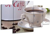 Canvas schilderij Koffie | Wit, Bruin | 160x90cm 4Luik