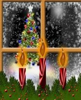 Christmas Eve Window Holiday Candles School Comp Book 130 Pages