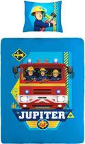 Brandweerman Sam - Dekbedovertrek - Eenpersoons - 140x200 cm + 1 kussensloop 60x70 cm - Blue