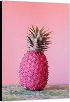 Dibond –Roze Ananas– 40x60cm Foto op Aluminium (Wanddecoratie van metaal)