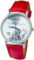 Hidzo Horloge Whatever I'm Late Anyway ø 37 mm - Rood - In horlogedoosje