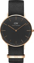 Daniel Wellington Classic Black Cornwall DW00100150 - Horloge - NATO - Zwart - Ø 36 mm