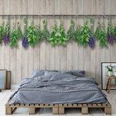 Fotobehang Vintage Chic Wood Planks And Herbs | VEXXXL - 416cm x 254cm | 130gr/m2 Vlies