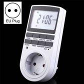 AC 230V Smart Home Plug-in LCD-scherm Klok Zomerfunctie 12/24 uur Verwisselbare timer Schakelaaraansluiting, EU-stekker