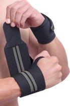 ZEUZ® 2x Fitness & CrossFit Polsband - Wrist wraps – Krachttraining – Polsbrace – Grijs & Zwart