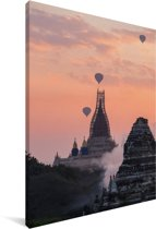 Ananda tempel schemering Bagan Canvas 90x140 cm - Foto print op Canvas schilderij (Wanddecoratie woonkamer / slaapkamer) / Aziatische steden Canvas Schilderijen