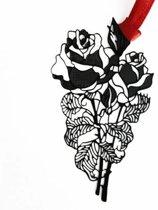 Boekenlegger - Bloem Roos B - Zwart metaal