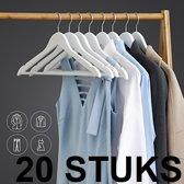 Relaxwonen - kledinghanger 20 stuks - klerenhanger - kleerhanger - broekenstang - hout wit