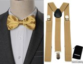 Bretels inclusief vlinderdas - Goud - Sorprese - met stevige clip - bretels - vlinderdas - strik – strikje - luxe - heren - unisex - giftset