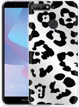Huawei Y6 2018 Hoesje Luipaard Zwart Wit