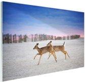 Herten op het strand Glas 30x20 cm - Foto print op Glas (Plexiglas wanddecoratie)