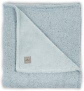 Deken 100x150cm Confetti knit stone green /coral fleece