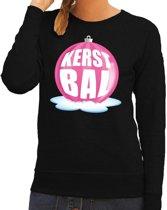 Foute kersttrui kerstbal roze op zwarte sweater voor dames - kersttruien 2XL (56)