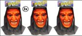 3x Vynil masker duivel met doek