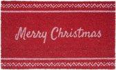 Clayre & Eef Deurmat rood Merry Christmas 75x45x1 cm