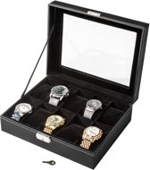 Tectake 401537 Horloge box - Kist -  Zwart - 10 horloges