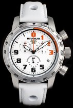 Rivaux Competition Chronograaf - Swiss Made - Horloge - Saffier glas - 46 mm - wit