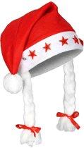 Benza Kerstmuts met vlechten en verlichting - Rood