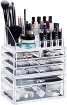 relaxdays make up organizer met 6 lades - acryl cosmeticahouder