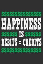 Happiness Is Debits = Credits: Debits and credits, accounting gifts for coworkers, accountant book, accountant gifts 6x9 Journal Gift Notebook with 1