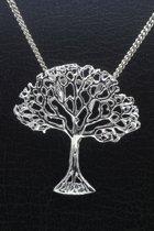 Zilveren Levensboom vrijstaand ketting hanger