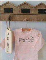 Shirtje roze Poppedijntje | Lange of korte mouw | lichtroze| maat 56-110