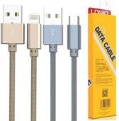 LDNIO LS08 Grijs USB oplaad kabel geweven nylon geschikt voor o.a iPhone 5 5S 5C SE 6 6S 7 8 Plus X XS XR Max iPod touch 5 6