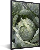 Foto in lijst - Enorme bladeren van de bekende mergkool fotolijst zwart 40x60 cm - Poster in lijst (Wanddecoratie woonkamer / slaapkamer)