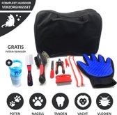 Verzorgingsset Hond & Kat Alles-in-1 Huisdier - Dog & Cat Grooming Kit - 10-delig Complete Verzorging – Nagelschaar – Vlooienkam - Handschoen – Borstel – Tekenpen – Inclusief Gratis Poten Reiniger