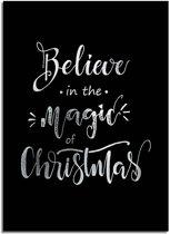 DesignClaud Kerstposter Believe in the magic of Christmas - Kerstdecoratie Zilver folie + zwart A2 poster (42x59,4cm)