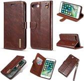 dg ming magnetische leren wallet vewrijderbare backcase iphone 7 8 plus bruin
