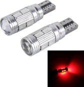 2 STKS T10 6 W 10 SMD 5630 LED Foutloze Canbus Auto Klaring Licht Lamp, DC 12 V (Rood Licht)