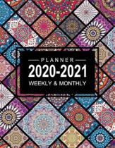2020-2021 Planner Weekly And Monthly: Colorful Mandala Planner, Two Year Calendar Planner 2020-2021, Monthly Calendar Schedule Organizer, Agenda Plann