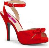 Eve-01 plateau sandaal met enkelbandje en hak satijn rood - (EU 45 = US 14) - Pleaser Pink Label