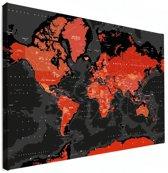 Wereldkaart rood zwart canvas groot 120x80 cm | Wereldkaart Canvas Schilderij