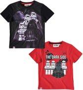 LEGO-Star-Wars-2-pak-T-shirt-rood - Maat 116
