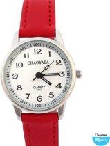Horloge- Dames- Tiener meisjes- Rood- 3 cm- Gratis batterij