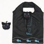 Opbouwbare milieu vriendelijke boodschappen tas - Kat - Zwart en Blauw