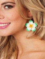 Hawaii oorbellen groene bloemetjes