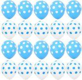 Ballonnen Dots Blauw/wit - Wit/blauw 8 stuks 30 cm