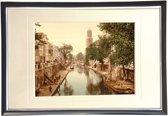 Oud Stadsgezicht Utrecht - Oude Gracht - Hamburgerbrug - Foto Print Wanddecoratie Lijst - 30x20 cm