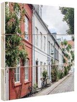 Straat Kopenhagen Hout 120x80 cm - Foto print op Hout (Wanddecoratie)