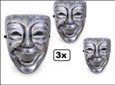 3x Masker nar zilver