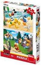 Puzzel 2 x 77 stukjes mickey en friends